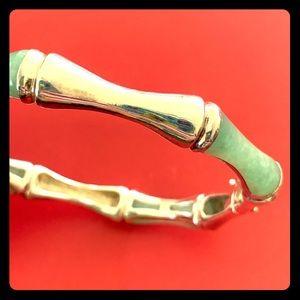Jewelry - Vintage Sterling & Jade Bamboo Hinged Bracelet